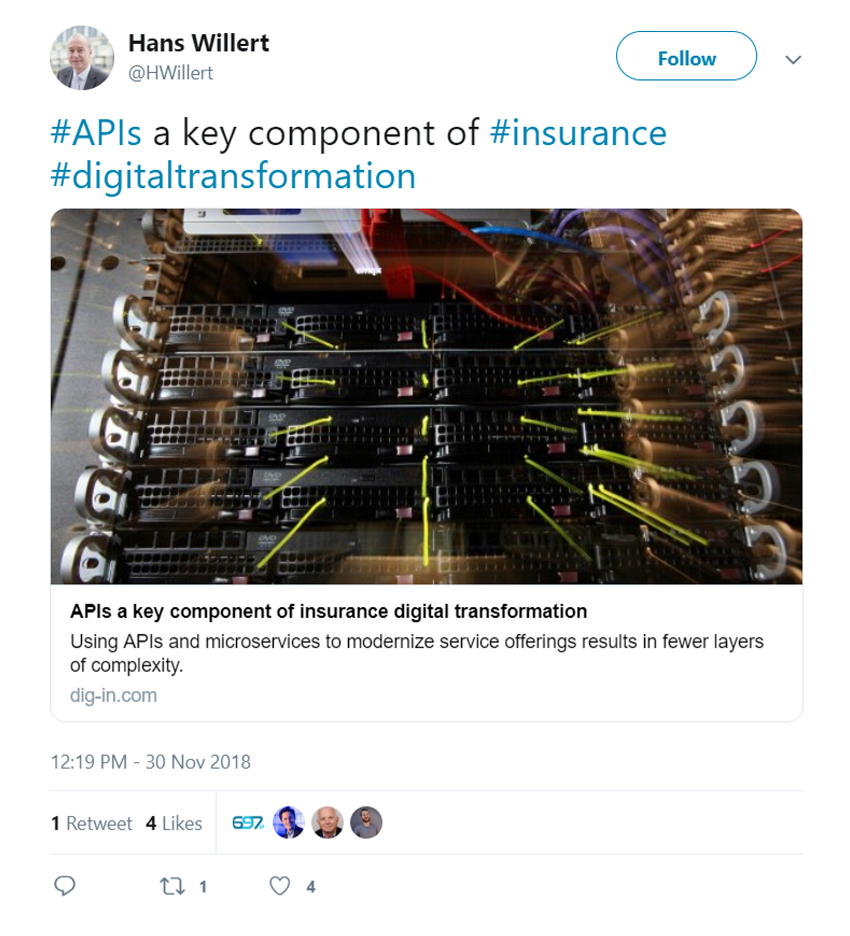 #APIs a key component of #insurance #digitaltransformation